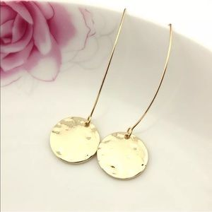 New! Gold Hammered Disc French Hook Earrings