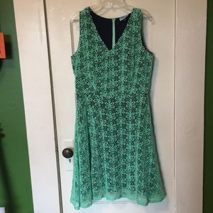 Cute navy and green lace dress