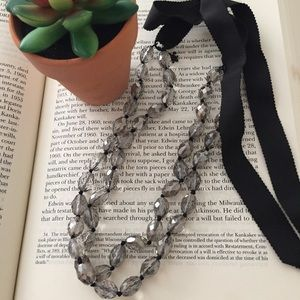 Beaded Ribbon Tie Necklace