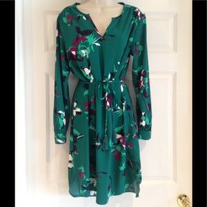 Super cute green flower print dress!