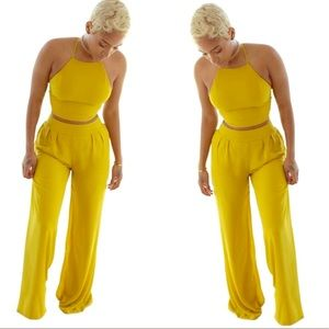 2 Piece Outfit with Halter top and Pleated pants