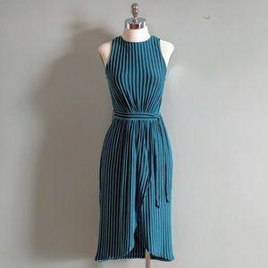 Vintage striped tulip hem midi dress xs Small