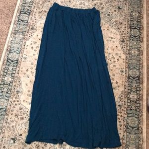 Teal blue super soft maxi skirt with pockets