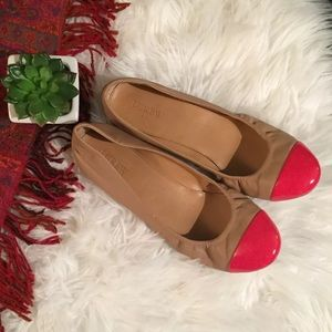 🆕 J. Crew Tan red Cap toe ballet flats 9