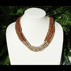 Two tone wood necklace