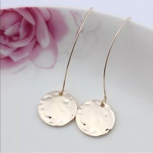 New! Rose Gold Hammered Disc French Hook Earrings