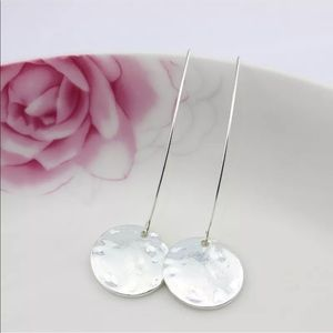 New! Silver Hammered Disc French Hook Earrings