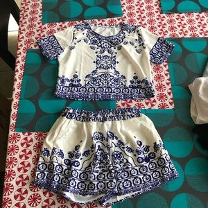Two piece white and blue lace romper