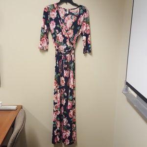 Cap sleeve floral full length wrap dress
