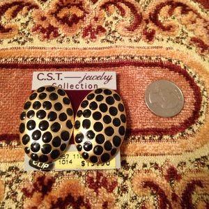 Clip on gold black polkadot earrings