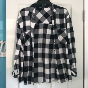 black and white Forever 21 flannel