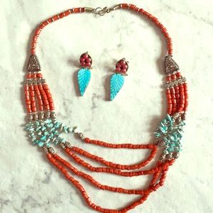 Coral Turquoise Necklace and Earring Bundle Set