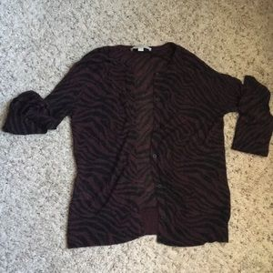 Loft size M Sheer burgundy and black cardigan