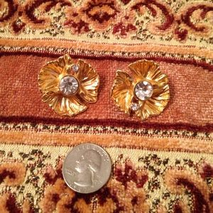 Gold clip on floral earrings with rhinestones