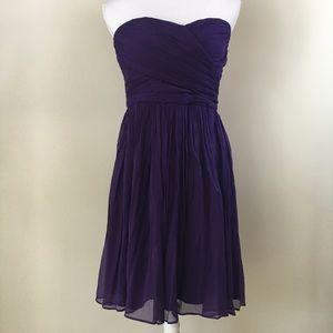 J Crew Taryn purple strapless silk chiffon dress 8
