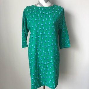{XS} Ann Taylor Loft Bird Print Green Shift Dress