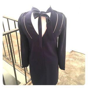 Reiss navy long sleeve winter dinner dress