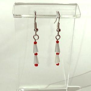 Earrings, Christmas Tree, White Red