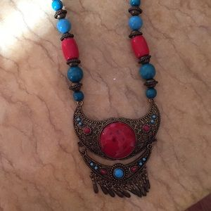 Boho wooden beads necklace