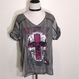 NEW! Affliction gray 'Seek and Destroy' top