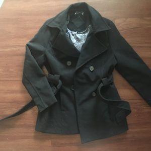 Never Worn womens black pea coat