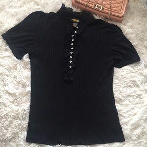 Ralph Lauren Rugby Black Knit tuxedo front blouse