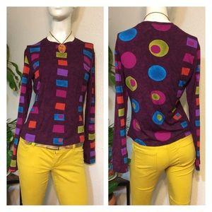Vintage Colorful Geo Artsy Print Long Sleeve Shirt