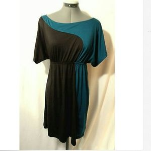 SOPRANO Stretch knit Dress S Teal Brown casual