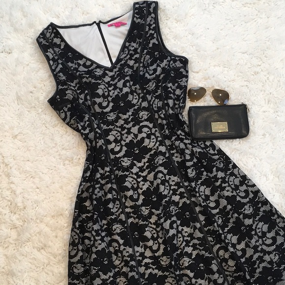 Betsey Johnson Black And White Lace Dress