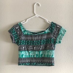 Elephant print crop top stretchy rue 21 small