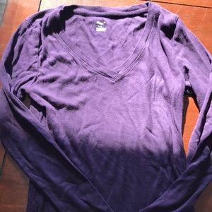 Gap Dark purple long sleeve V neck