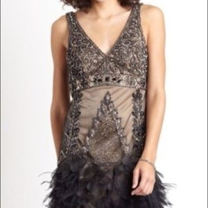 Sue Wong V-Neck Beaded Sequined Dress Feather