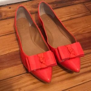 Jcrew Bow Flats in coral color