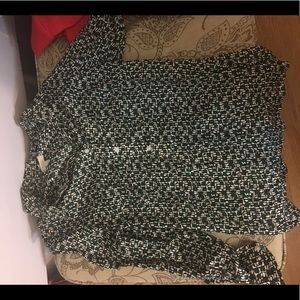 Talbots green and black blouse