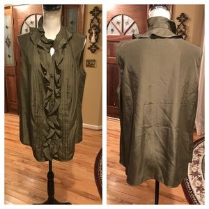 NWOT Talbots olive green blouse