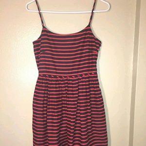 J Crew Women's size 0 Navy Blue Red Striped Dress