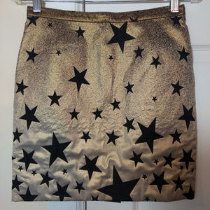 Agnes B Gold Metallic Star Lame Mini Skirt sz 36 4