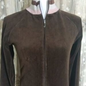 Juicy Couture Brown Velour Track Jacket Size M