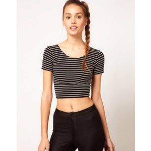 American Apparel Stripe Stretch Short Sleeved Crop