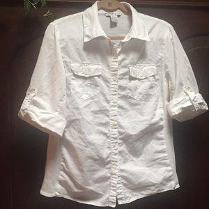 CAbi white cotton button down