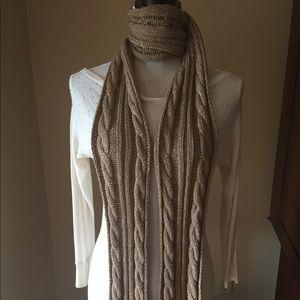 J Crew Gold w/metallic gold thread knit scarf