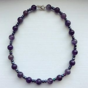 Purple & gunmetal glass beaded Girls' necklace