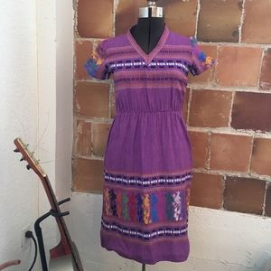 VINTAGE 70s woven embroidered dress