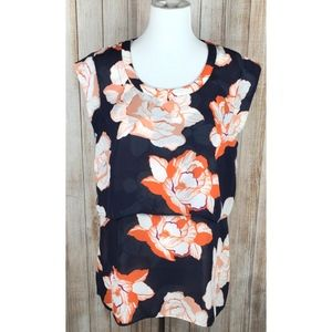 Cabi Blossom Top #5030 in Navy and Coral