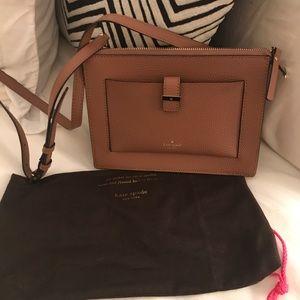 Kate Spade mini Crossbody brown leather bag.