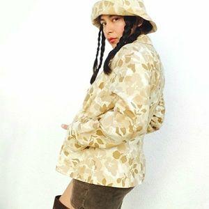 Vtg 90's camo set: jacket + retro bucket hat