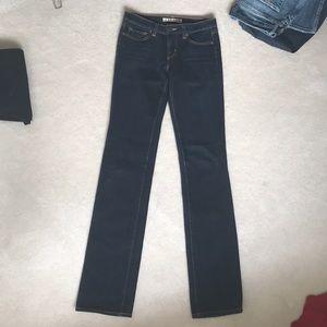 MID RISE cigarette leg dark denim jeans
