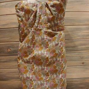 Pastel Floral Print Strapless J Crew Dress Sz 14