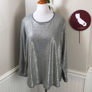 Style&co. Shimmery Long Sleeve Lightweight Sweater