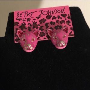 Betsey Johnson earring animal pink panther cheetah